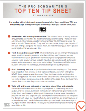 Pro Songwriter's Top Ten Tip Sheet Cover